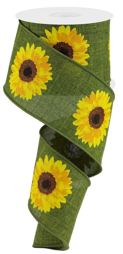 "Bold Sunflowers Royal Ribbon - Moss/Yellow/Orange - 2.5"" X 10YD-Mels Crafty Mojo LLC"