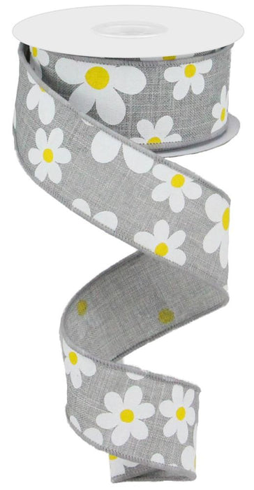 "Flower Daisy Print on Royal Ribbon - Grey/White/Yellow - 1.5"" X 10YD-Mels Crafty Mojo LLC"