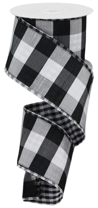 "Bold Check with Gingham Check Ribbon - Black/White - 2.5"" X 10YD"