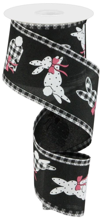 "Multi Pattern Bunnies Royal Ribbon with Gingham Edges - Black/White/Pink - 2.5"" X 10YD"