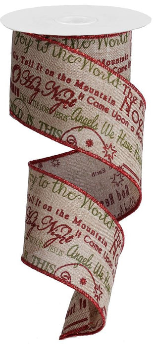 "Christmas Songs on Royal Ribbon - Beige/Red Glitter/Green - 2.5"" X 10YD"