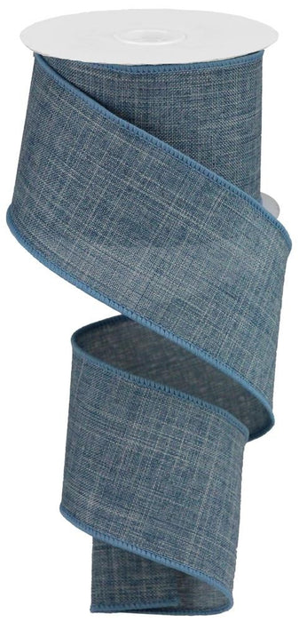 "Royal Burlap Ribbon - Faded Denim Blue - 2.5"" X 10YD-Mels Crafty Mojo LLC"
