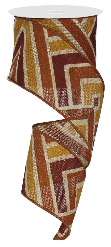 "Diamond Stripes Cross Royal Burlap Ribbon - Natural/Rust/Burgundy/Butternut - 2.5"" X 10YD-Mels Crafty Mojo LLC"