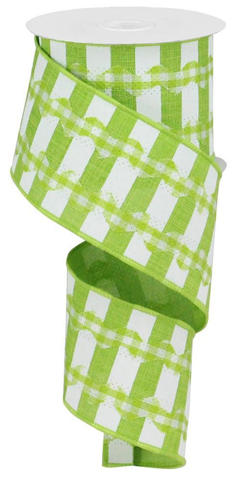 "Ricrac/ Plaid/Stripe on Royal Burlap Ribbon - Lime Green/White - 2.5"" X 10YD"