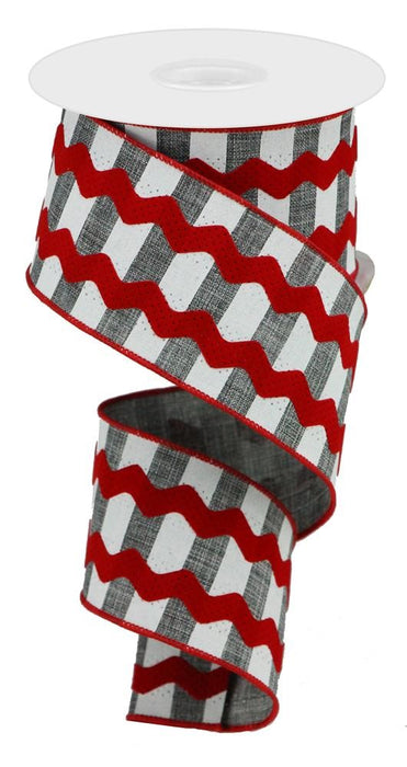 "Ricrac and Horizontal Stripes on Royal Ribbon - Grey/White/Red - 2.5"" X 10YD-Mels Crafty Mojo LLC"