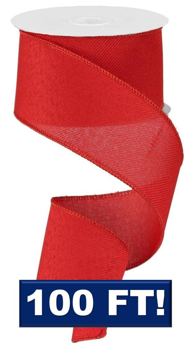 "Royal Denim Ribbon - Red - 2.5"" X 100FT-Mels Crafty Mojo LLC"