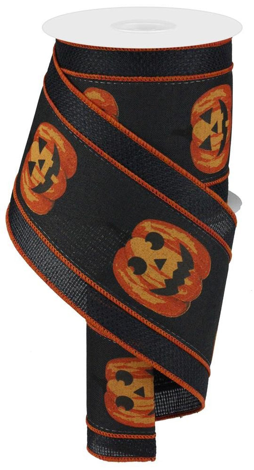 "2 in 1 Deluxe Jack-O-Lantern Ribbon - Black/Orange - 4"" X 10YD-Mels Crafty Mojo LLC"