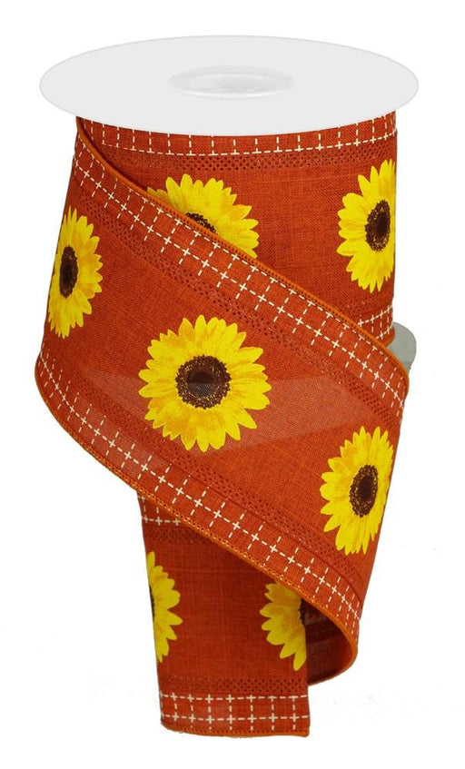 "3 in 1 Bold Sunflowers With Squares Royal Ribbon - Rust/Brown/Yellow/Cream - 4"" X 10YD-Mels Crafty Mojo LLC"