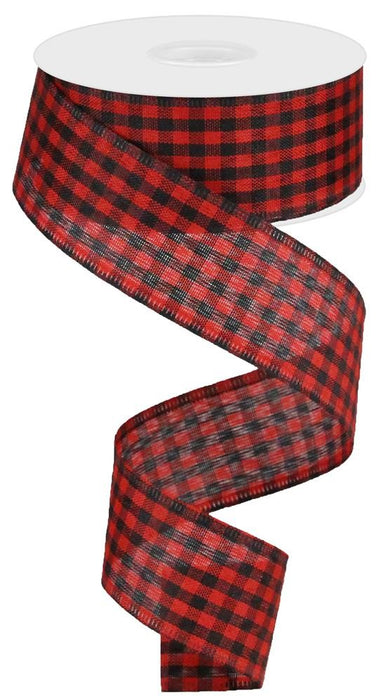 "Gingham Check Ribbon - Black/Red - 1.5"" X 10YD-Mels Crafty Mojo LLC"