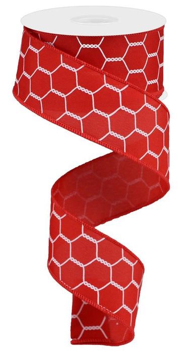 "Chicken Wire Ribbon - Red/White - 1.5"" X 10YD-Mels Crafty Mojo LLC"