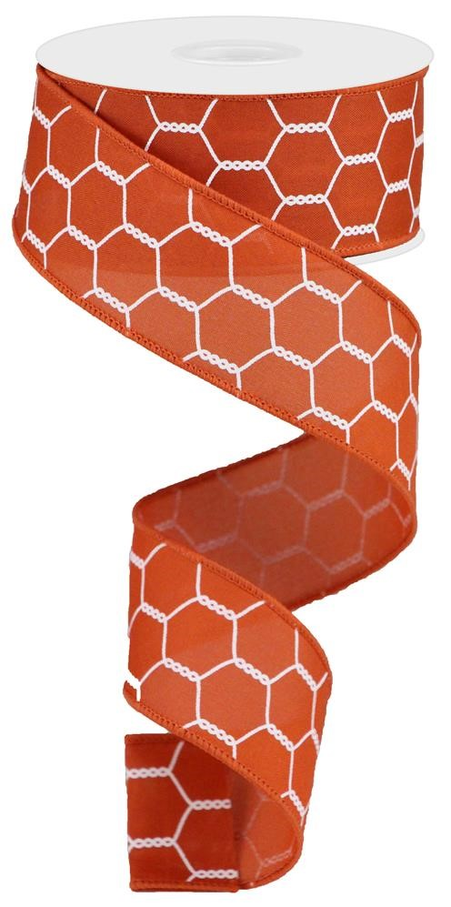"Chicken Wire Ribbon - Rust/White - 1.5"" X 10YD-Mels Crafty Mojo LLC"