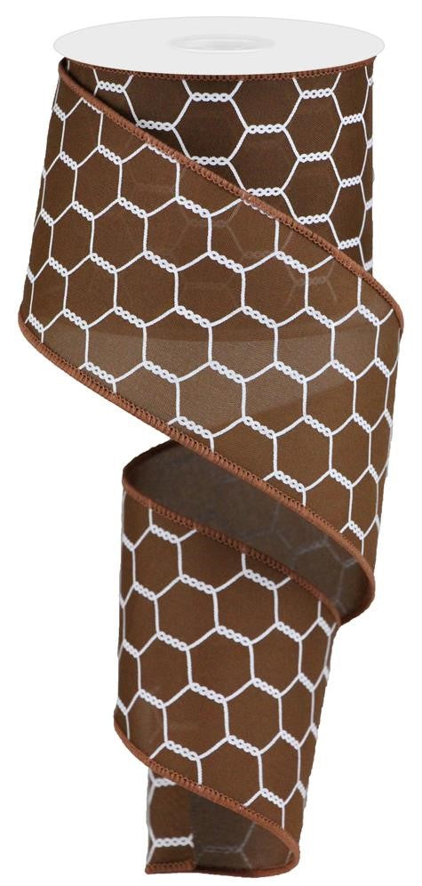 "Chicken Wire Ribbon - Chocolate/White - 2.5"" X 10YD-Mels Crafty Mojo LLC"