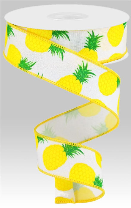 "Pineapples on Royal Ribbon - White/Yellow/Green - 1.5"" X 10YD-Mels Crafty Mojo LLC"
