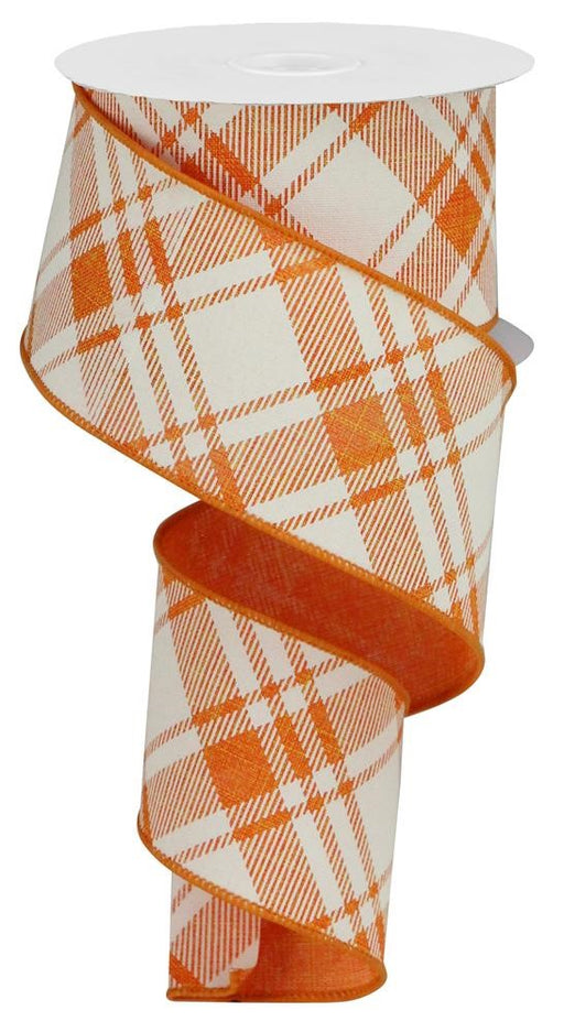 "Diagonal Stripe/Check on Royal Ribbon - Orange/Ivory - 2.5"" X 10YD-Mels Crafty Mojo LLC"