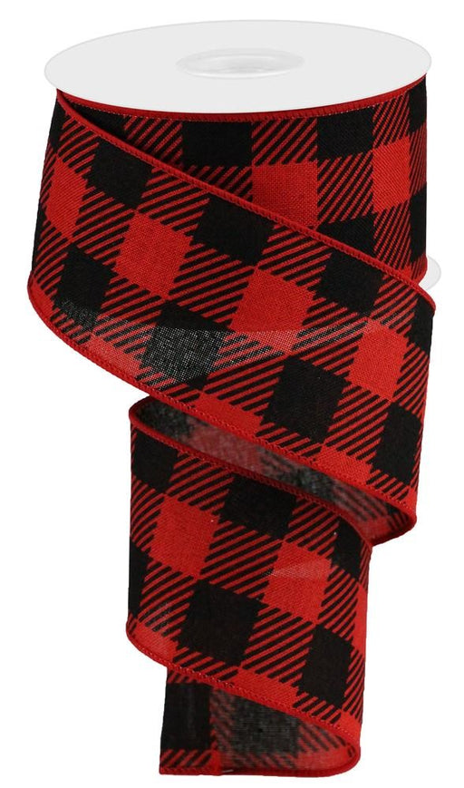 "Large Stripe/Check on Royal Ribbon - Red/Black - 2.5"" X 10YD-Mels Crafty Mojo LLC"