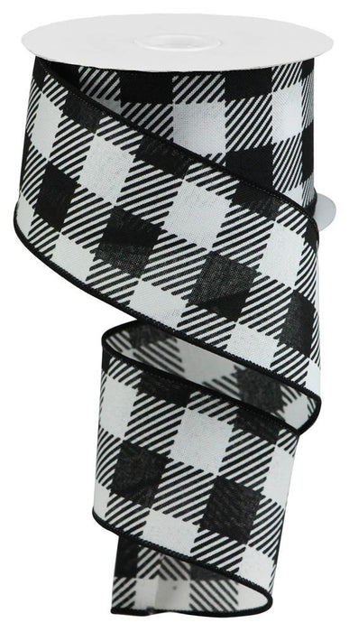 "Large Stripe/Check on Royal Ribbon - White/Black - 2.5"" X 10YD-Mels Crafty Mojo LLC"