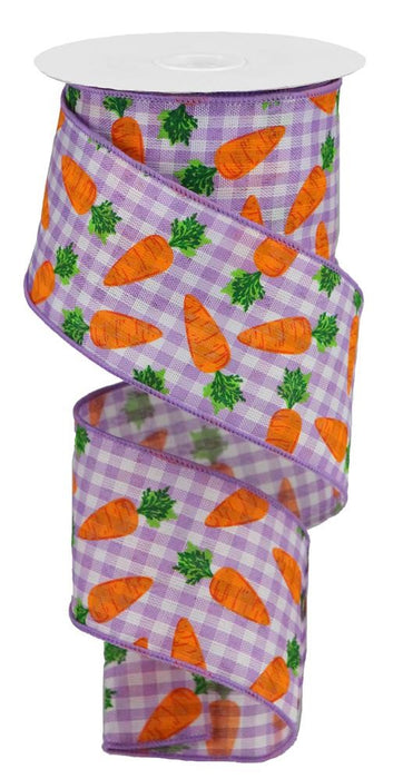 "Carrots on Gingham Check Ribbon - Lavender/White/Orange/Green - 2.5"" X 10YD"