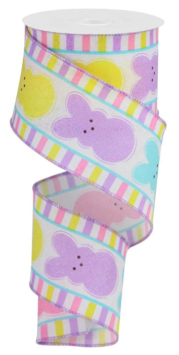 "Glitter Sugar Bunnies Ribbon - White/Yellow/Pink/Turquoise/Lavender - 2.5"" X 10YD-Mels Crafty Mojo LLC"