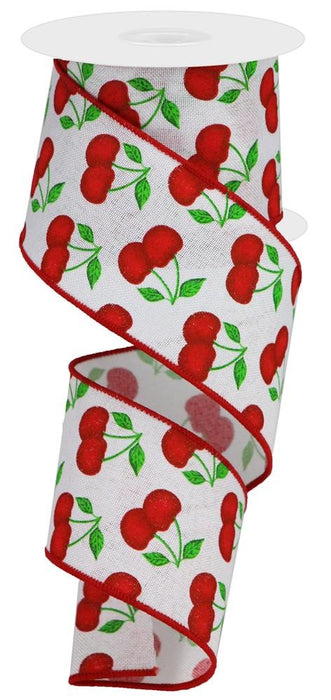 "Cherries on Royal Ribbon - White/Red/Green - 2.5"" X 10YD"