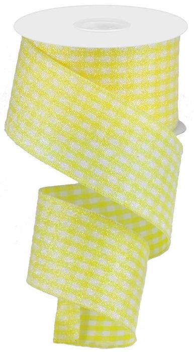 "Glitter Gingham Check Ribbon - Yellow/White - 2.5"" X 10YD"