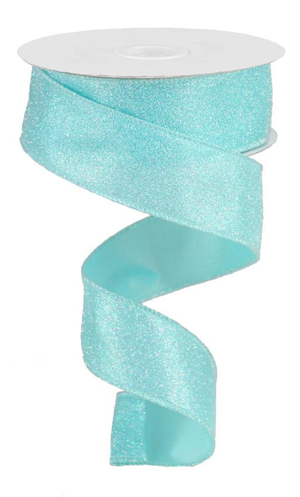 "Iridescent Glitter on Satin Ribbon - Robin Egg Blue/Iridescent - 1.5"" X 10YD-Mels Crafty Mojo LLC"