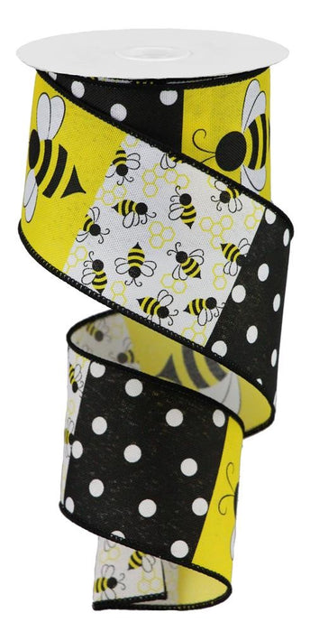 "Bumblebee Blocks Ribbon - Black/Yellow/White - 2.5"" X 10YD-Mels Crafty Mojo LLC"