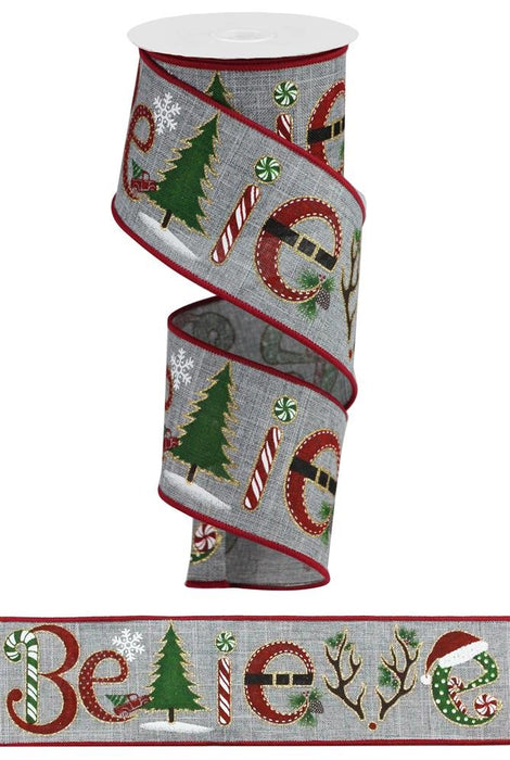 "Believe Christmas Royal Ribbon - Grey/Red/Green - 2.5"" X 10YD-Mels Crafty Mojo LLC"