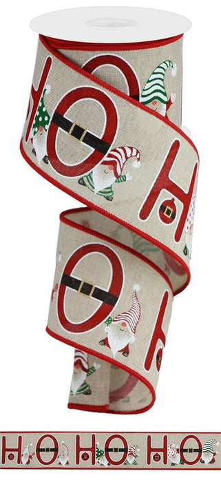 "Ho Ho Ho Gnomes on Royal Ribbon - Natural/Red/Green/White - 2.5"" X 10YD"