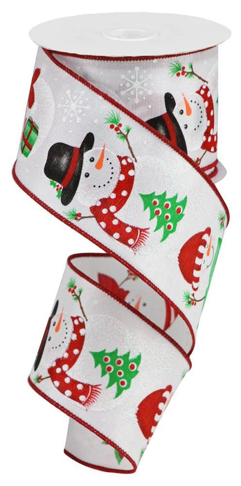 "Snowman with Tree/Stocking/Present Ribbon - White/Red/Black/Green - 2.5"" X 10YD-Mels Crafty Mojo LLC"