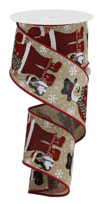 "Snowman Santa with Dog on Royal Ribbon - Beige/Red/Black/White - 2.5"" X 10YD-Mels Crafty Mojo LLC"