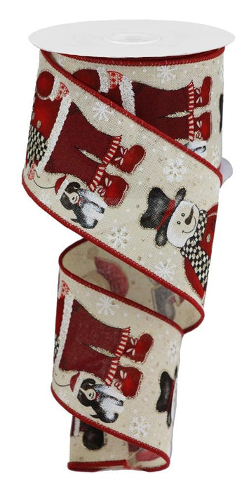 "Snowman Santa with Dog on Royal Ribbon - Cream/Red/Black/White - 2.5"" X 10YD"