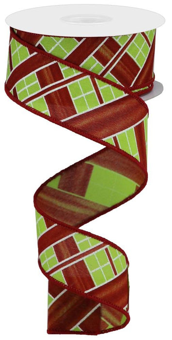 "Two Tone Stripe Check on Royal Ribbon - Red/Lime/White - 1.5"" X 10YD"