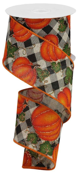 "Pumpkins and Leaves on Diagonal Check Ribbon - Orange/Black/Beige/Green/Gold - 2.5"" X 10YD-Mels Crafty Mojo LLC"
