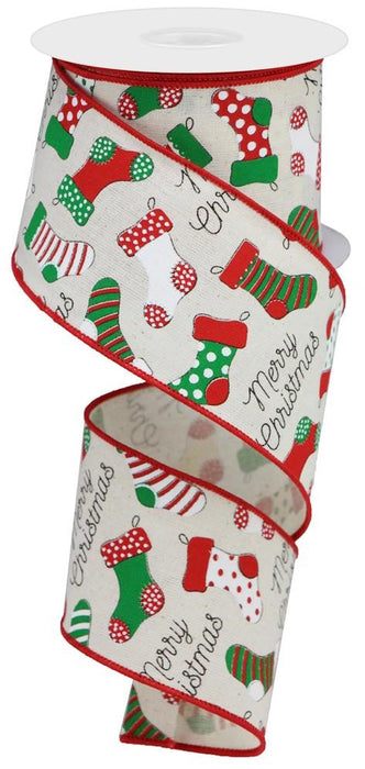 "Stockings Merry Christmas Ribbon - Cream/Red/Green/White - 2.5"" X 10YD"