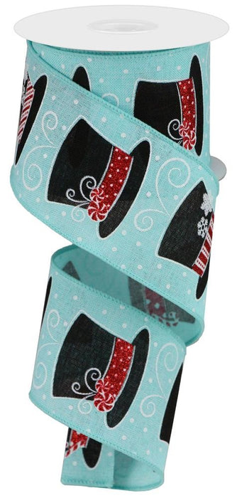 "Snowman Hats on Royal Ribbon - Light Blue/Black/Red/White - 2.5"" X 10YD"