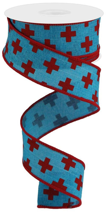 "Swiss Red Cross on Royal Ribbon - Turquoise/Red- 1.5"" X 10YD"
