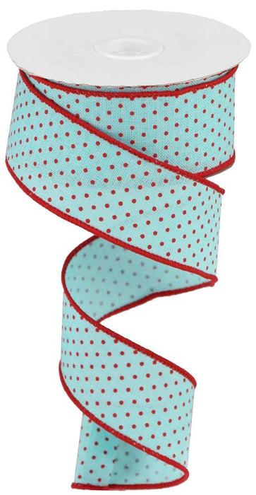 "Swiss Dots on Royal Burlap Ribbon - Ice Blue/Red - 1.5"" X 10YD"