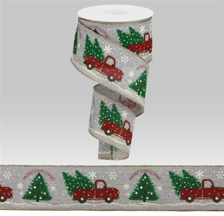 "Vintage Truck Christmas Trees Snow Ribbon - Grey/White/Red/Green - 2.5"" X 10YD"