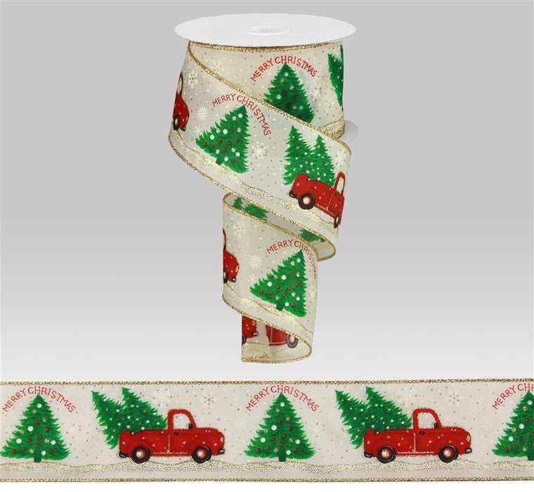 "Vintage Truck Christmas Trees Snow Satin Ribbon - Ivory/White/Red/Green - 2.5"" X 10YD"