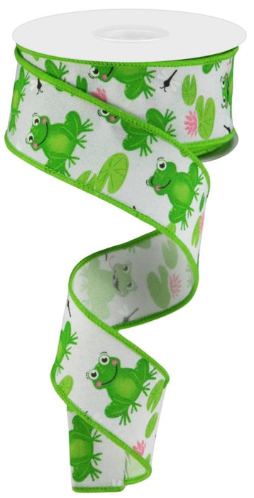 "Frogs on Faux Royal Ribbon - White/Green/Pink - 1.5"" X 10YD"
