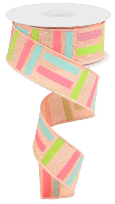 "Paintbrush Strokes Royal Ribbon - Peach/Pink/Teal/Light Green - 1.5"" X 10YD-Mels Crafty Mojo LLC"