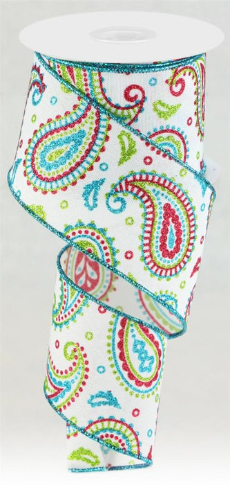 "Glitter Paisley on Royal Ribbon - White/Lime/Pink/Turquoise - 2.5"" X 10YD"