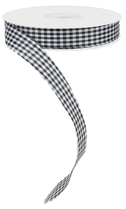 "Non-Wired Mini Gingham Check Ribbon - Black/White - 0.625"" X 10YD"