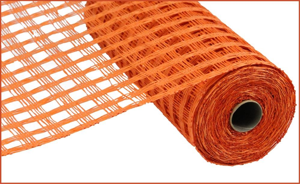 "Poly Burlap Mesh - Check Mesh - Orange - 10"" X 10 yards"