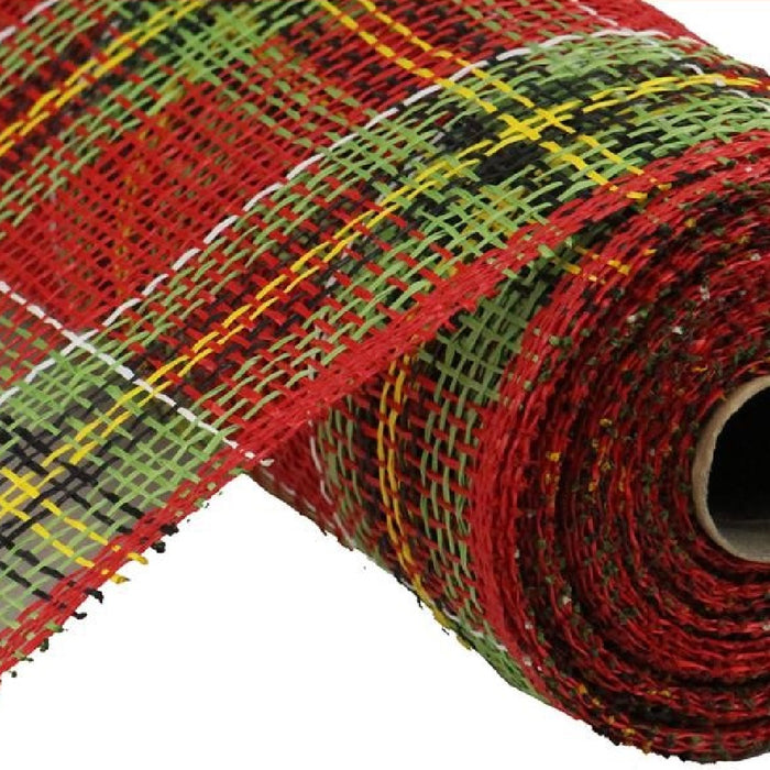 "Poly Burlap Mesh - Christmas Plaid - Red/Lime/Black/Yellow/White - 10"" X 10 YD-Mels Crafty Mojo LLC"