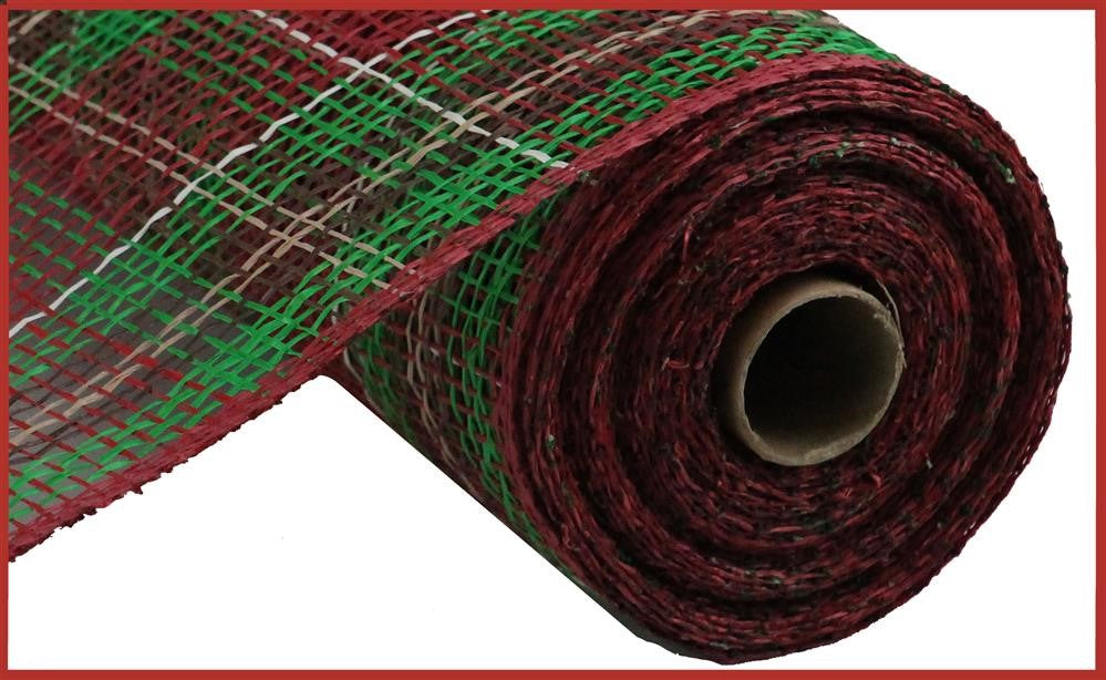 "Poly Burlap Mesh - Christmas Plaid - Cranberry/Emerald/Chocolate/Natural/Cream - 10"" X 10 YD-Mels Crafty Mojo LLC"
