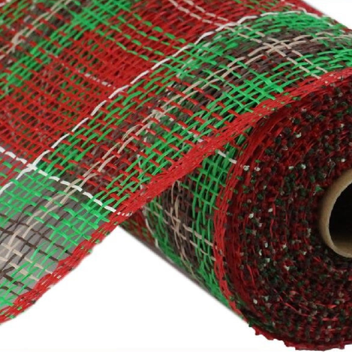 "Poly Burlap Mesh - Christmas Plaid - Red/Emerald/Chocolate/Natural/Cream - 10"" X 10 YD-Mels Crafty Mojo LLC"