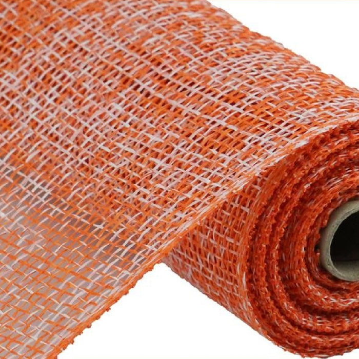"Poly Burlap Mesh - Two Tone - Orange/White - 10"" X 10 YD-Mels Crafty Mojo LLC"