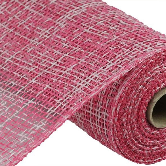 "Poly Burlap Mesh - Two Tone - Fuchsia/White - 10"" X 10 YD-Mels Crafty Mojo LLC"