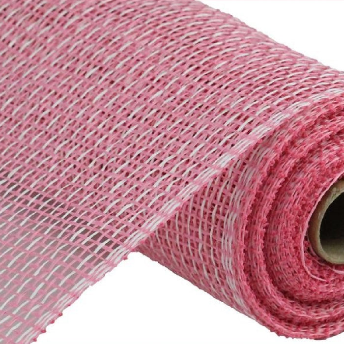 "Poly Burlap Mesh - Multi - Pink/White - 10"" X 10 yards-Mels Crafty Mojo LLC"